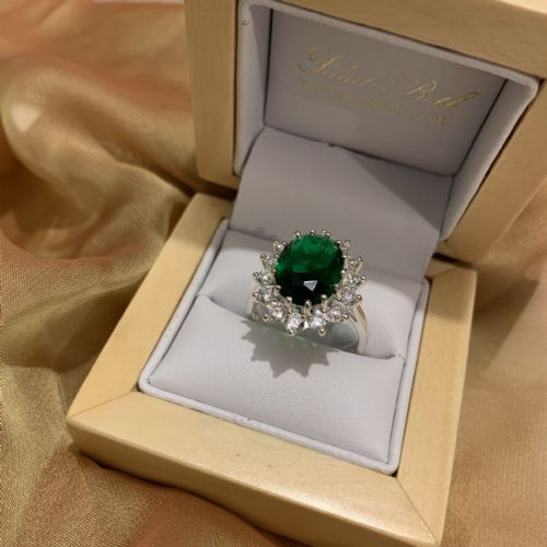 Ladies Green And White Cubic Zirconia Large Oval Sterling Silver Cluster Ring